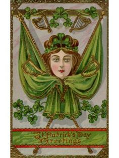 A Vintage St. Patricks Day Souvenir Card with Images of a Woman, Flags and Harps