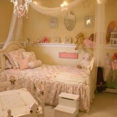 Toddler Girl Bedroom Ideas With Star String Lights And Chandelier And Fabric