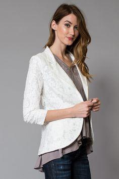 Chic Lace Overlay Blazer