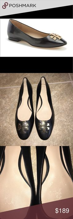Tory Burch Raleigh black leather flats sz 7.5 NEW Brand new without the box they were a store display so they have been tried on the footbeds have very tiny marks from the price stickers it doesnt effect the item because you cant see it when your wearing them black leather sz 7.5 100 %authentic i do not sell fakes NO TRADES Tory Burch Shoes Flats & Loafers