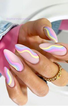 Summer Acrylic Nails, Best Acrylic Nails, Spring Nails, Coffin Nails Designs Summer, Summer Stiletto Nails, Nail Summer, Designs For Nails, Summer Nail Colors, Cartoon Nail Designs