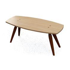 Table à rêvasser - Table basse en Pruche de l'Ouest et Sappeli - Assemblages en tenons alésés traversants et encornés - Fini vernis et huile d'Abrasion - Faite avec des outils manuels traditionnels, sans l'aide de machines - 39 x 16.5 x 16.75 po. - 99 x 42 x 42.5 cm