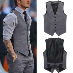 Men Casual Formal Slim Fit Business Waistcoat Grey Dress Vest Jacket Suit Tuxedo in Clothing, Shoes & Accessories, Men's Clothing, Vests See how we can help you to find the right business to start your life. Mens Dress Outfits, Men Dress, Dress Vest, Dress Shoes, Dress Clothes, Mens Dress Coats, Men Clothes, Swag Dress, Casual Clothes