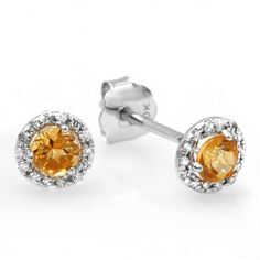 0.75 Carat (ctw) 10K White Gold Citrine Round Diamond Ladies Halo Style Stud Earrings 3/4 CT DazzlingRock Collection. $89.00. Diamond Color / Clarity : I-J / I2-I3. Gemstone : Diamond and Citrine. Crafted in pure 10K White Gold.. Weight approximately 1.00 grams. Has a stunning 0.75 Ct. Citrine & Round Diamonds