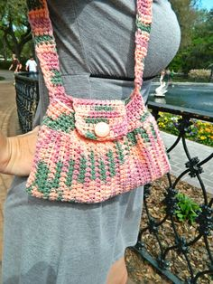 Pink Green and Purple Cotton Crocheted Easter Purse by AnnaMcNeill, $36.00