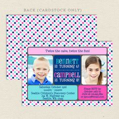 Joint birthday party invitation boy and girl photo birthday invite double the fun joint birthday party invitations lil sprout greetings filmwisefo