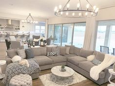 Modern Farmhouse Glam on Enjoying the bright, neutral decor in our great room! What do you like best I will link my sources (furniture, sectional couch, marble Modern Farmhouse Living Room Decor, Farmhouse Living Room Furniture, Glam Living Room, Home And Living, Farmhouse Decor, Rustic Furniture, Antique Furniture, Furniture Ideas, Modern Living Room Furniture