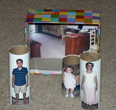 DIY Toilet paper tube dollhouse paper rolls - so funny! Craft Activities For Kids, Projects For Kids, Crafts For Kids, Cubes, Block Area, Family Theme, Toy House, Toilet Paper Roll Crafts, Cardboard Tubes