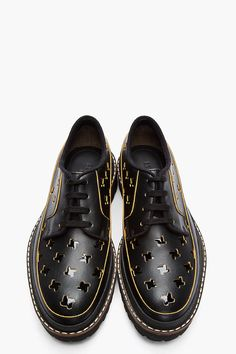 MARNI Black Leather Patent Cut-Out Derbys