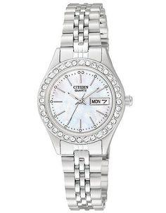 Citizen Quartz Swarovski Crystal Day/Date Ladies Watch - MOP Dial - Stainless