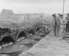 Field bakery run by the Army Service Corps showing Aldershot ovens, Salonika, 1916.