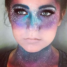 Close up of the Galaxy makeup ✨ Model: my sister Kylie . . . #ilovehalloween #halloweenmakeup #galaxy #halloween2017 #costume #costumemakeup #galaxymakeup #spacebuns #space #halloween #costume #blue #bluehair #teal #tealhair #glitter #rhinestones #beccahighlighter #nars #anastasiabeverlyhills #stila #makeuptutorial #makeupartist #makeuplover #hudabeauty #toofaced #urbandecay #beauty #beautyblogger #lips #eyes