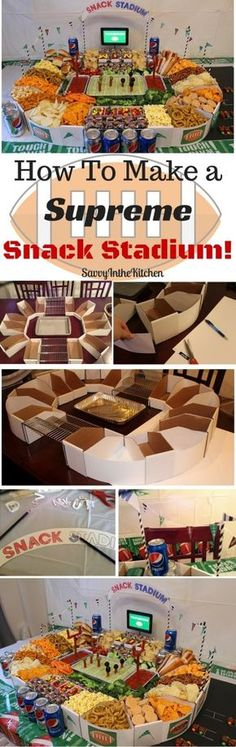 Create a DIY snack stadium for your game day party. This football stadium is perfect for tailgating or hosting at home. You'll love how easy the recipe and tutorial are! Get ready for the big game!