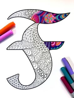 "Letter F Zentangle - Inspired by the font ""Deutsch Gothic"""