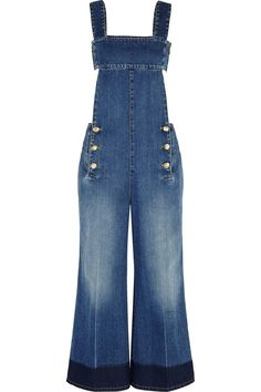 Sonia Rykiel Backless Denim Wide-Leg Overalls with flare leg