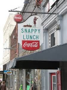 """Snappy Lunch, N. Main St., Mount Airy, NC. Mentioned by Andy on """"The Andy Griffith Show."""" Estab. 1920s.  Home of the pork chop sandwich."""