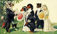 Vintage DACHSHUND DOG Wedding Party Quilting Fabric Block 5x7
