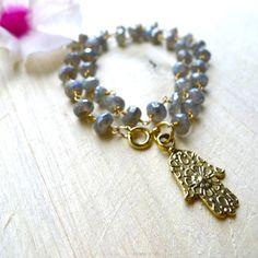 "14.5"" Double Wrap Chunky Labradorite 22k Gold Vermeil Wire Wrapped Bracelet with Hamsa Charm by 137point5, $49.00"