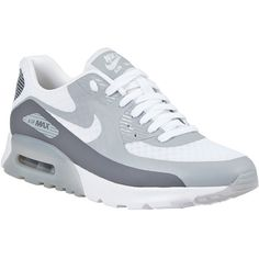 Nike Air Max 90 Ultra Breathe Women's Trainers , White/Wolf Grey (£110) ❤ liked on Polyvore featuring shoes, special occasion shoes, holiday shoes, light weight shoes, evening shoes and plimsoll shoes