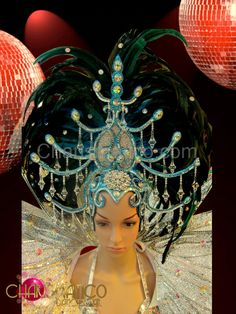 Charismatico Dancewear Store - CHARISMATICO Dazzling Diva Showgirl's sky blue glitter and crystal feathered headdress , $160.00 (http://www.charismatico-dancewear.com/charismatico-dazzling-diva-showgirls-sky-blue-glitter-and-crystal-feathered-headdress/)