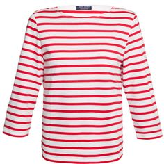 Saint James Galathee White And Red Striped Shirt ($95) ❤ liked on Polyvore featuring tops, red, 3/4 sleeve shirts, white cotton shirt, red white shirt, nautical striped shirt and striped sailor shirt