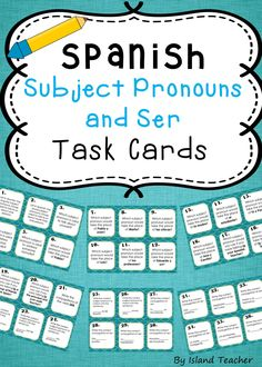 Set of 40 task cards to practice subject pronouns and the verb ser. Use for games, stations or class work assignments.