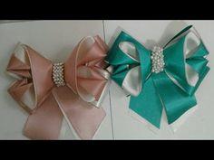YouTube Fabric Rosette, Satin Ribbon Flowers, Ribbon Hair Bows, Diy Hair Bows, Diy Bow, Diy Ribbon, Ribbon Crafts, Felt Crafts, Fabric Flowers