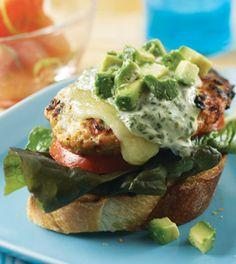 Chicken Burgers with Basil Yogurt Sauce Recipe - Clean Eating Magazine