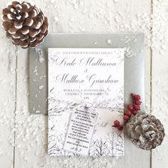 SAMPLE Winter Wedding Invitations Christmas Snow Invitation Rustic