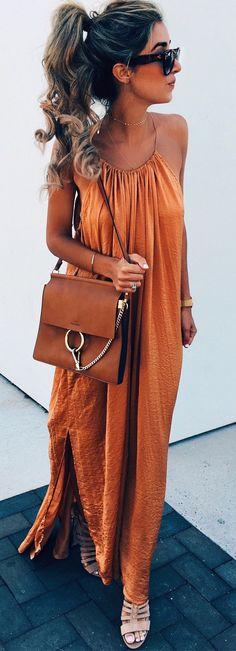 #summer #outfits Orange Maxi Dress + Brown Leather Shoulder Bag 💃🏻❤️