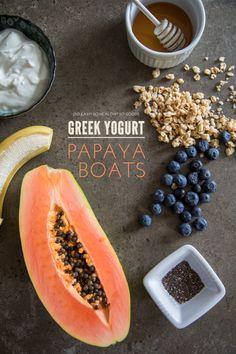Greek Yogurt Papaya Boats