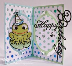 Stenciled Hoppy the Frog Oval Accordion Card