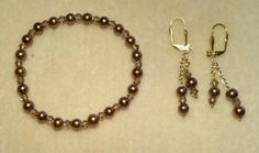 Brown pearls & crystals stretch bracelet and dangle earrings.
