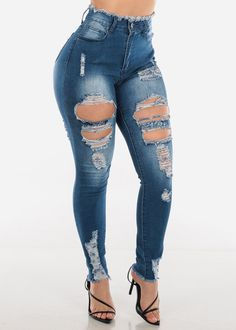 High Waisted Ripped Med Wash Skinny Jeans 13 - Ripped Jeans for women - Ideas of Ripped Jeans for women Cute Ripped Jeans, Womens Ripped Jeans, Ripped Jeans Outfit, High Jeans, Best Jeans For Women, Cute Pants, Teenager Outfits, Jean Outfits, Trousers Women