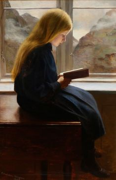Læsende lille pige - A little girl reading, 1900, Johan Gudmundsen-Holmgreen. Danish (1858 - 1912)