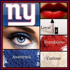 New York Giants look created using mineral pigments in Awestruck and Curious on . - my most beautiful makeup list Makeup List, Day Makeup, Makeup Eyes, 3d Fiber Lash Mascara, Fiber Lashes, Lucrative Lip Gloss, New York Giants Logo, Mua, All Natural Makeup