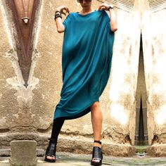 Celeb-Lady-Batwing-Off-Shoulder-Loose-Jersey-Asymmetry-Hem-Long-Dress-Plus-Size