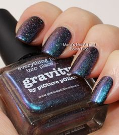 Picture Polish Gravity swatches over black