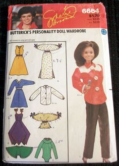 Butterick Sewing Pattern 6664 Clothes for 11 Dolls Barbie Marie Osmond Doll Marie Osmond, Doll Wardrobe, Doll Sewing Patterns, Selling On Ebay, Old And New, Barbie Dolls, Cloths, Doll Clothes, Toys