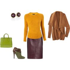 """Warm Autumn - yellow, plum and green inspiration"" by adriana-cizikova on Polyvore"