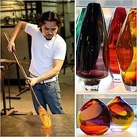 Make a piece of glass by Glass Blowing