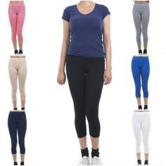 ebclo - Stretch Basic Skinny Cotton/Spandex Capri Leggings Solid Color Pants NEW #ebclo $11.00 Free Domestic Shipping