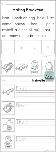 Students will sequence using the words first, next, then, and last. Includes stories and writing prompts.
