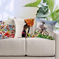 juego de 3 patrón de colores de algodón / lino cubierta decorativa almohada - EUR € 38.17