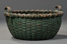 Green-painted Woven Splint Basket, America, 19th century