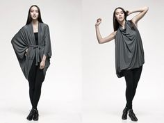 """Origami"" can be worn as a tunic, dress, cape, or cardigan"