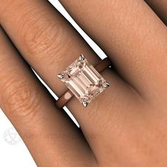 Emerald Morganite Solitaire Right Hand Ring on Finger Rare Earth Jewelry