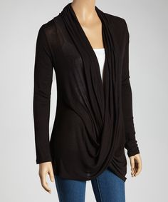 Black Twist Drape Top | Daily deals for moms, babies and kids