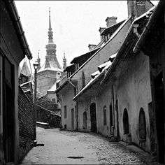Snowing in the old tow- Sighisoara, Romania