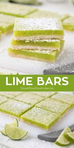 Lime Bars are exactly like lemon bars, but made with limes instead. A shortbread crust is topped with a tangy lime custard. Easy and delicious! Lime Bar Recipes, Lemon Dessert Recipes, Easy Desserts, Sweet Recipes, Baking Recipes, Delicious Desserts, Key Lime Desserts, Raspberry Lime Recipes, Lime Squares Recipes